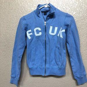 FCUK zip up sweater in powder blue.