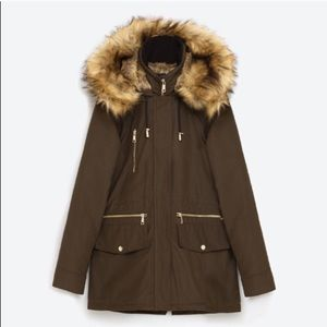 Zara olive fall/winter parka with faux fur hood