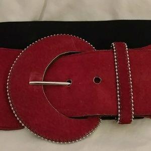Accessories - Vintage 80s Red Suede & Black Stretch Belt