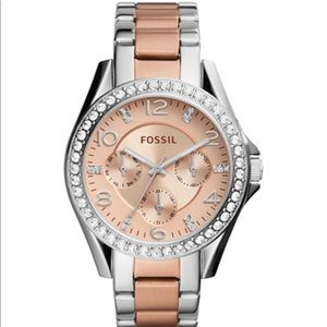 Fossil Riley Rose Gold and Silver 38mm Watch