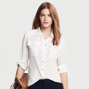 100% Silk Banana Republic White Button-Down