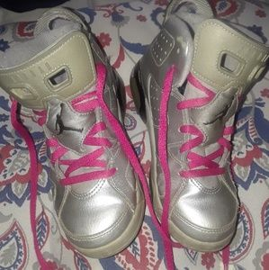 Toddlers Silver and pink jordans