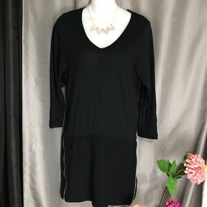Theory Black Mini Dress Tunic Side Zippers Stretch