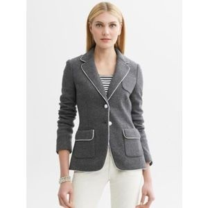 Banana Republic Wool Fitted Piped Blazer Grey