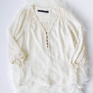Zara Ruffle Cream Blouse