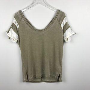 [Free People] Burnout Ringer Sweatshirt Top Beige