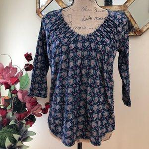 Lucky Brand wildflower print smocked blouse