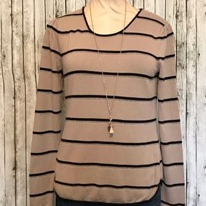 Banana Republic Pullover Sweater Striped Black Tan