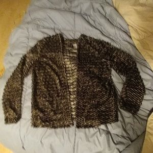 Long Sleeve zebra print fuzzy jacket