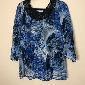 Blue Watercolor Blouse NWT