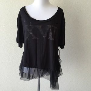 Free people pretty in punk distressed graphic top