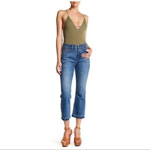 FREE PEOPLE High Rise Release Hem Cropped Jean