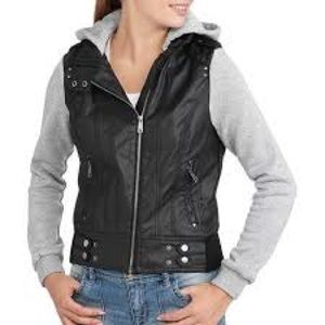 Sweatshirt Sleeve Faux Leather Moto Jacket