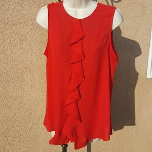 Red sleeveless top with waterfall ruffle Sz. M