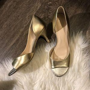 Gold Tahari Kitten Peep Toe Heels US Size 7.5