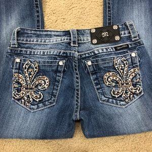 Miss Me Fleur De Lis thick stitch boot sz 27 short