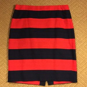 J crew pencil skirt, navy and red