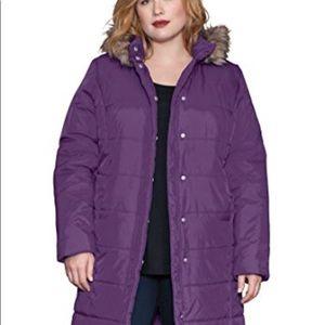 New Roaman's Puffer Coat Hood Purple 14 16