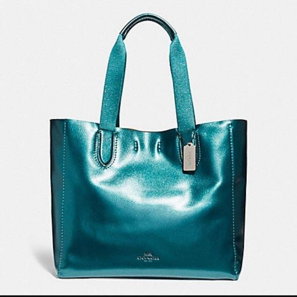 10a7ffc8d6e Coach Bags   Nwot Mermaid Blue Turquoise Derby Tote   Poshmark