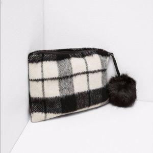 Zara Check Buffalo Plaid Fuzzy PomPom Bag Clutch