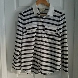 Anthropologie Button Down Striped Blouse