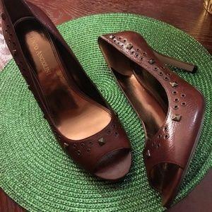 Enzo Angiolini brown leather studded peeptoe heels