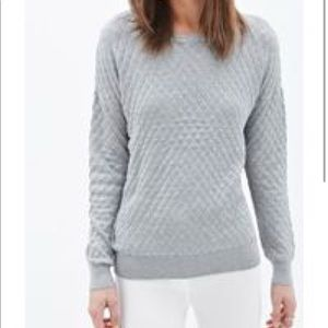 Women's Gray Quilted Knit Sweater