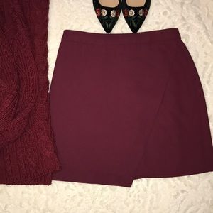 Banana Republic Crossover Burgundy Mini Skirt