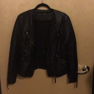 Topshop Leather Jacket - Black, Size 8