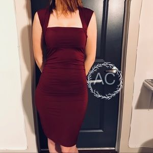 Maroon Ruched Bodycon Dress