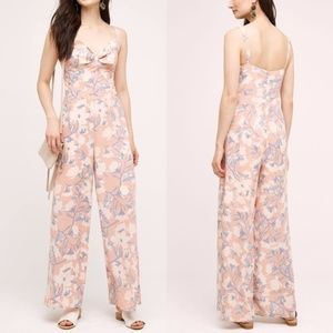 Anthro Paper Crown Floral Bow Pantsuit Jumpsuit