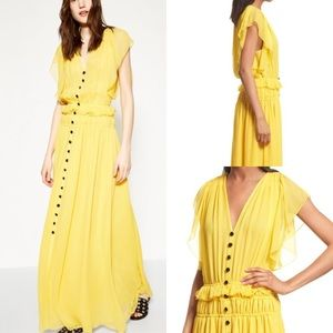 NWT the kooples ruffle silk maxi dress long button