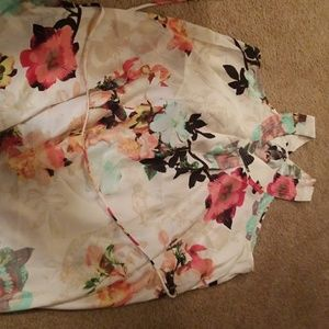 Multi color floral dress with tie.