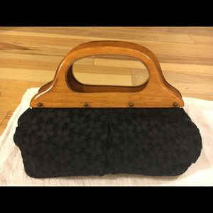 J.Crew black floral fabric purse with wood handles
