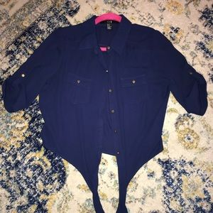 Forever 21 3/4 Length Sleeve Button Up Blouse