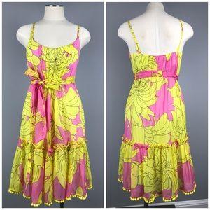 Milly Floral Tropical Pom Pom Dress