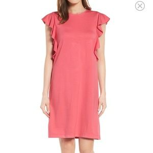 Halogen Ruffle Shoulder A-Line dress