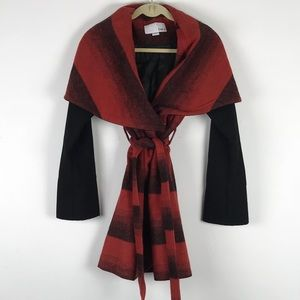 Red and Black Plaid belted coat Bar III from Macys