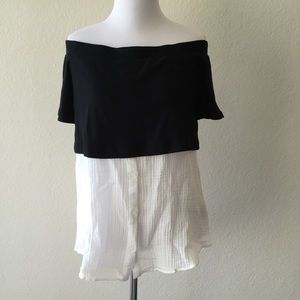 Anthro postmark off the shoulder layered top XS