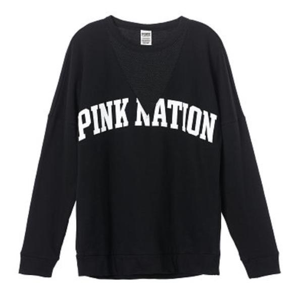 NWT VICTORIA/'S SECRET PINK NATION BLACK MESH CAMPUS CREW SWEATSHIRT PULLOVER