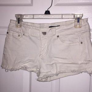 White cut off jean shorts