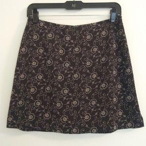 Banana Republic Black Floral Print Mini Skirt Sz 4
