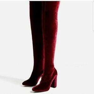 NEW ZARA burgundy Velvet over knee boots