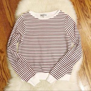 WILDFOX | Red & White Striped Sweatshirt M