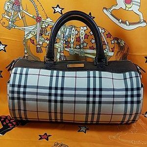 Authentic Burberry Novacheck Canvas Satchel Bag