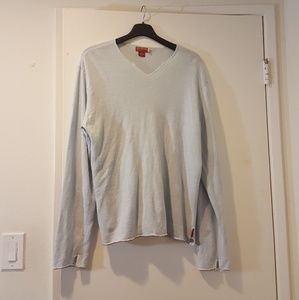 long sleeve light blue v neck sweater