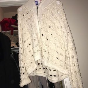 White free people cardigan sweater with holes