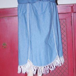 Denim Boho Bohemian Gypsy Hip Denim Skirt Sz 2XL