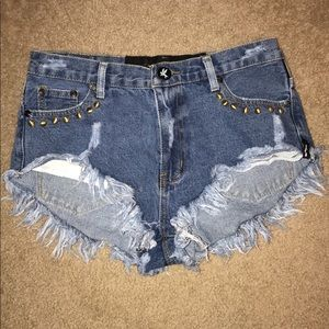 One teaspoon studded denim shorts. High rise