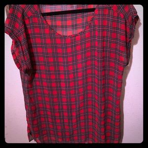 Express red plaid blouse